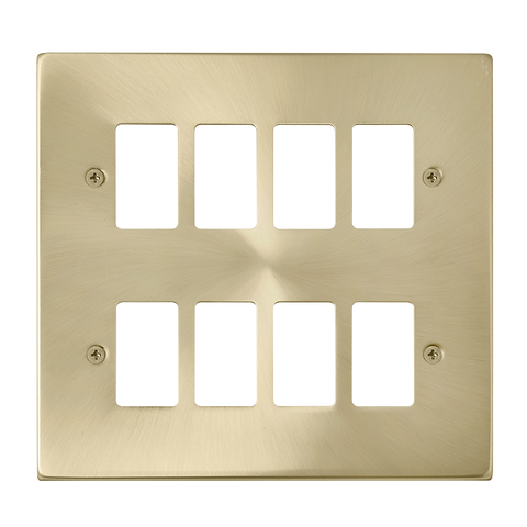 Gridpro 8 Gang Satin Brass Plate