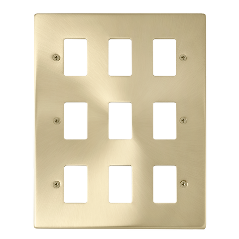 Gridpro 9 Gang Satin Brass Plate