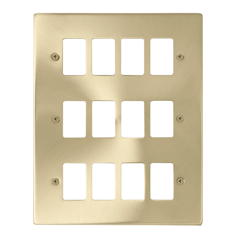 Gridpro 12 Gang Satin Brass Plate