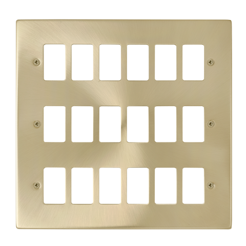 Gridpro 18 Gang Satin Brass Plate