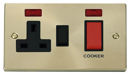 Satin Brass Cooker Control 45A With 13A Switched Plug Socket & 2 Neons - Black Trim