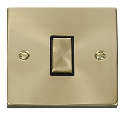 Satin Brass 10A 1 Gang 2 Way Ingot Light Switch - Black Trim