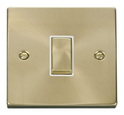 Satin Brass 10A 1 Gang 2 Way Ingot Light Switch - White Trim