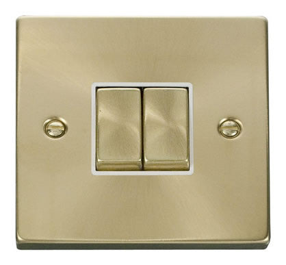 Satin Brass 10A 2 Gang 2 Way Ingot Light Switch - White Trim