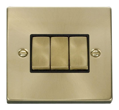 Satin Brass 10A 3 Gang 2 Way Ingot Light Switch - Black Trim