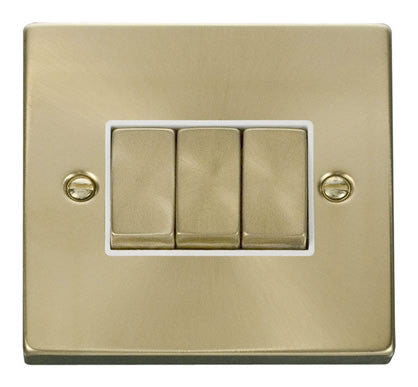 Satin Brass 10A 3 Gang 2 Way Ingot Light Switch - White Trim