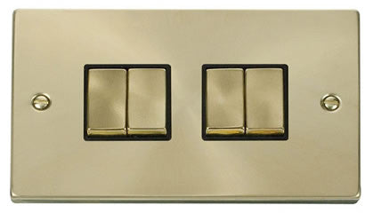 Satin Brass 10A 4 Gang 2 Way Ingot Light Switch - Black Trim