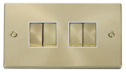 Satin Brass 10A 4 Gang 2 Way Ingot Light Switch - White Trim