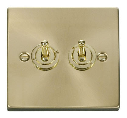 Satin Brass 2 Gang 2 Way 10AX Toggle Light Switch