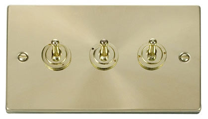 Satin Brass 3 Gang 2 Way 10AX Toggle Light Switch