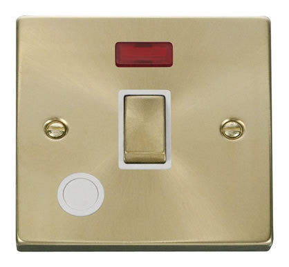 Satin Brass 1 Gang 20A Ingot DP Switch With Flex With Neon - White Trim