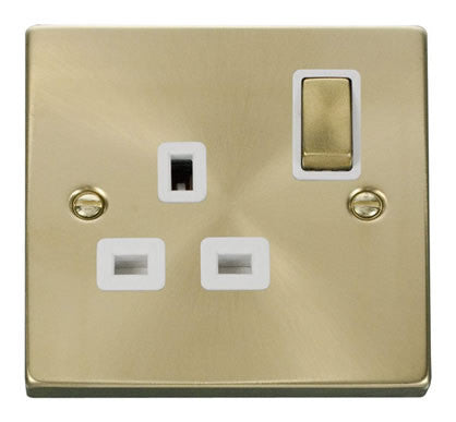 Satin Brass 1 Gang 13A DP Ingot Switched Plug Socket - White Trim