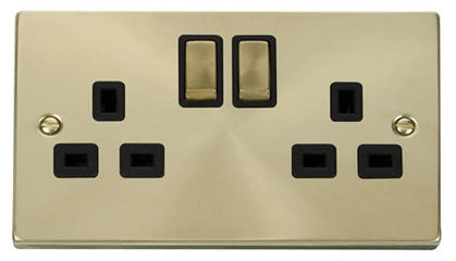 Satin Brass 2 Gang 13A DP Ingot Twin Double Switched Plug Socket - Black Trim
