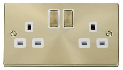 Satin Brass 2 Gang 13A DP Ingot Twin Double Switched Plug Socket - White Trim