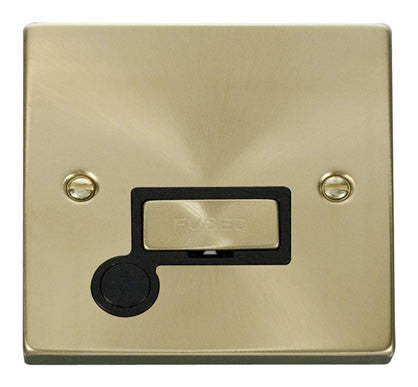 Satin Brass 13A Fused Ingot Connection Unit With Flex - Black Trim