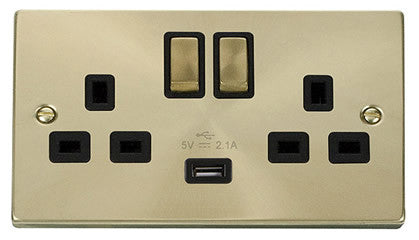 Satin Brass 2 Gang 13A DP Ingot 1 USB Twin Double Switched Plug Socket - Black Trim