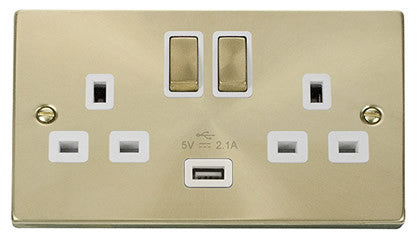 Satin Brass 2 Gang 13A DP Ingot 1 USB Twin Double Switched Plug Socket - White Trim