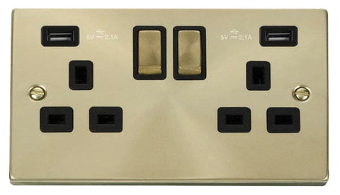 Satin Brass 2 Gang 13A DP Ingot 2 USB Twin Double Switched Plug Socket - Black Trim
