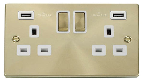 Satin Brass 2 Gang 13A DP Ingot 2 USB Twin Double Switched Plug Socket - White Trim
