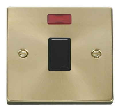 Satin Brass 1 Gang 20A DP Switch With Neon - Black Trim