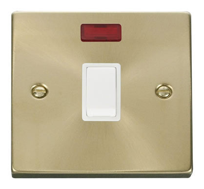 Satin Brass 1 Gang 20A DP Switch With Neon - White Trim