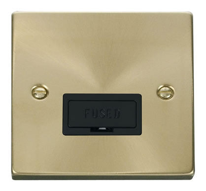 Satin Brass 13A Fused Connection Unit - Black Trim