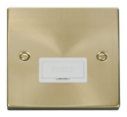 Satin Brass 13A Fused Connection Unit - White Trim