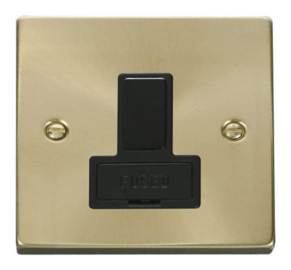 Satin Brass 13A Fused Connection Unit Switched - Black Trim