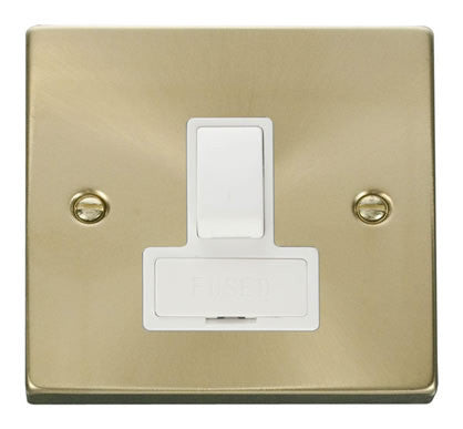 Satin Brass 13A Fused Connection Unit Switched - White Trim