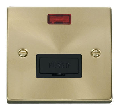 Satin Brass 13A Fused Connection Unit With Neon - Black Trim