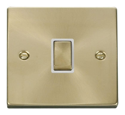 Satin Brass 1 Gang 20A Ingot DP Switch - White Trim