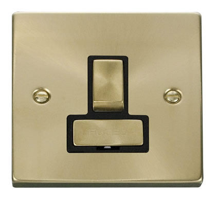 Satin Brass 13A Fused Ingot Connection Unit Switched - Black Trim