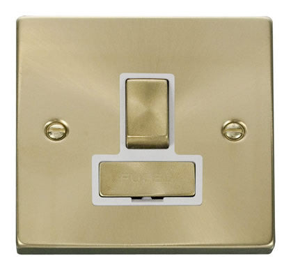 Satin Brass 13A Fused Ingot Connection Unit Switched - White Trim