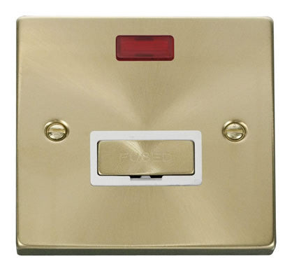Satin Brass 13A Fused Ingot Connection Unit With Neon - White Trim