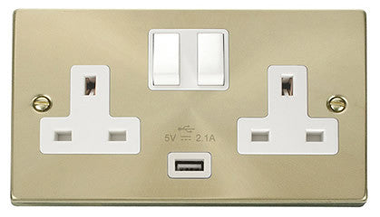 Satin Brass 2 Gang 13A 1 USB Twin Double Switched Plug Socket - White Trim