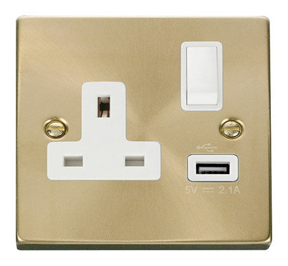 Satin Brass 1 Gang 13A DP 1 USB Switched Plug Socket - White Trim