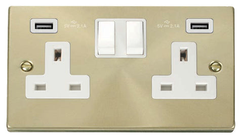 Satin Brass 2 Gang 13A 2 USB Twin Double Switched Plug Socket - White Trim