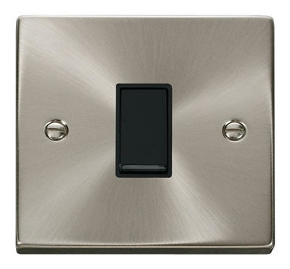 Satin Chrome 10A 1 Gang 2 Way Light Switch - Black Trim