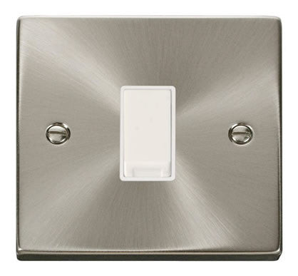 Satin Chrome 10A 1 Gang 2 Way Light Switch - White Trim