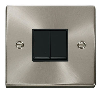 Satin Chrome 10A 2 Gang 2 Way Light Switch - Black Trim