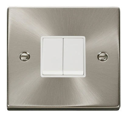 Satin Chrome 10A 2 Gang 2 Way Light Switch - White Trim