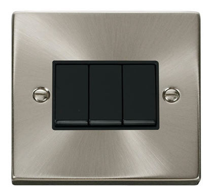 Satin Chrome 10A 3 Gang 2 Way Light Switch - Black Trim