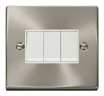 Satin Chrome 10A 3 Gang 2 Way Light Switch - White Trim