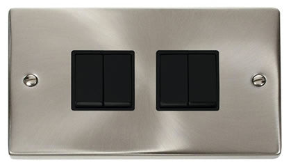 Satin Chrome 10A 4 Gang 2 Way Light Switch - Black Trim