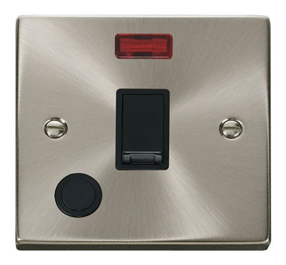 Satin Chrome 1 Gang 20A DP Switch With Flex With Neon - Black Trim