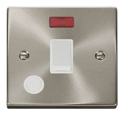 Satin Chrome 1 Gang 20A DP Switch With Flex With Neon - White Trim