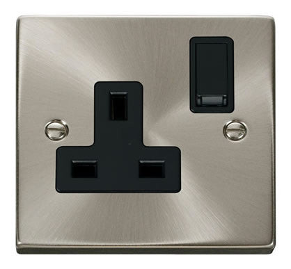Satin Chrome 1 Gang 13A DP Switched Plug Socket - Black Trim