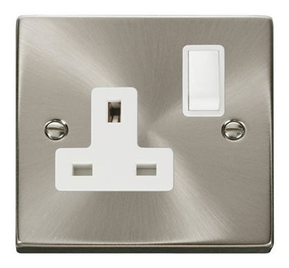 Satin Chrome 1 Gang 13A DP Switched Plug Socket - White Trim