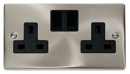 Satin Chrome 2 Gang 13A Twin Double Switched Plug Socket - Black Trim