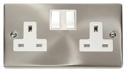 Satin Chrome 2 Gang 13A Twin Double Switched Plug Socket - White Trim